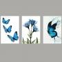 Quadro Jardim de Borboletas Azuis com Flores - Kit 3 telas