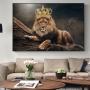 Quadro Leão Coroa Rei  - Tela Única