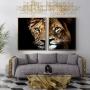 Quadro Leão e Leoa Casal -  Kit 2 telas