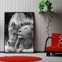 Quadro Família Leão Leoa e filhote - Tela Única