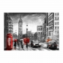 Quadro Londres Vermelho e Preto Horizontal - Tela Única