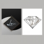 Quadro Love e Diamante Preto - Kit 2 telas