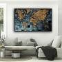 Quadro Mapa Mundi Azul e Dourado Luxury - Tela Única