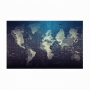 Quadro Mapa Mundi Azul e Prata - Tela Única