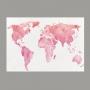 Quadro Mapa Mundi Branco e Rosa - Tela Única