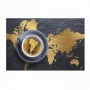 Quadro Mapa Mundi Café - Tela Única