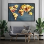 Quadro Mapa Mundi Flores- Tela Única