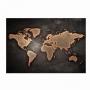 Quadro Mapa Mundi Moderno Preto e Dourado - Tela Única