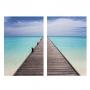 Quadro  Mar Deck Pier Paradisíaco - Kit 2 telas