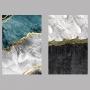Quadro Marmorizado Preto e Tiffany - Kit 2 telas