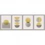 Quadro Minimalista Amarelo e Cinza - 4 Telas