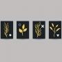 Quadro Minimalista Folhas Douradas e Preto - 4 Telas