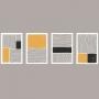 Quadro Minimalista Linhas Amarelo e Preto - 4 Telas