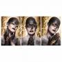 Quadro Mulher Black and Glitter Preto e Dourado  - Kit 3 telas