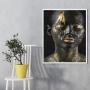 Quadro Mulher Face Tinta Borrada Preto e Dourado - Tela Única