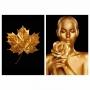 Quadro Mulher Folha Flor e Ouro Preto e Dourado -  Kit 2 telas