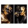 Quadro Mulher Gold Tinta Abacaxi Preto e Dourado -  Kit 2 telas