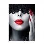 Quadro Mulher Moderna Unha Vermelha - Tela Única