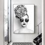 Quadro Mulher Preto e Branco Moderno Óculos- Tela Única