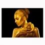 Quadro Mulher Preto e Dourado Rosa Horizontal - Tela Única