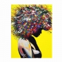 Quadro Negra Afro Borboletas Amarelo  - Tela Única
