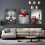 Quadro Paris e Londres Ponto Focal Vermelho - Kit 3 telas