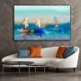 Quadro Pintura Óleo Barco Azul - Tela Única