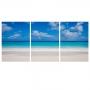 Quadro Praia Paradisíaca - Kit 3 telas