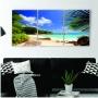Quadro Praia Tropical Folhas - Kit 3 telas