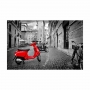 Quadro Rua Moto Lambreta Vermelha - Tela Única