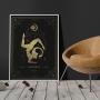 Quadro Signo Escorpião Preto e Dourado - Tela Única