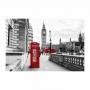 Quadro Torre  Londres Vermelho e Branco - Tela Única