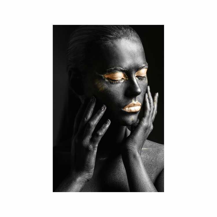 Quadro Mulher Empoderada Preto e Dourado 3  - Tela Única