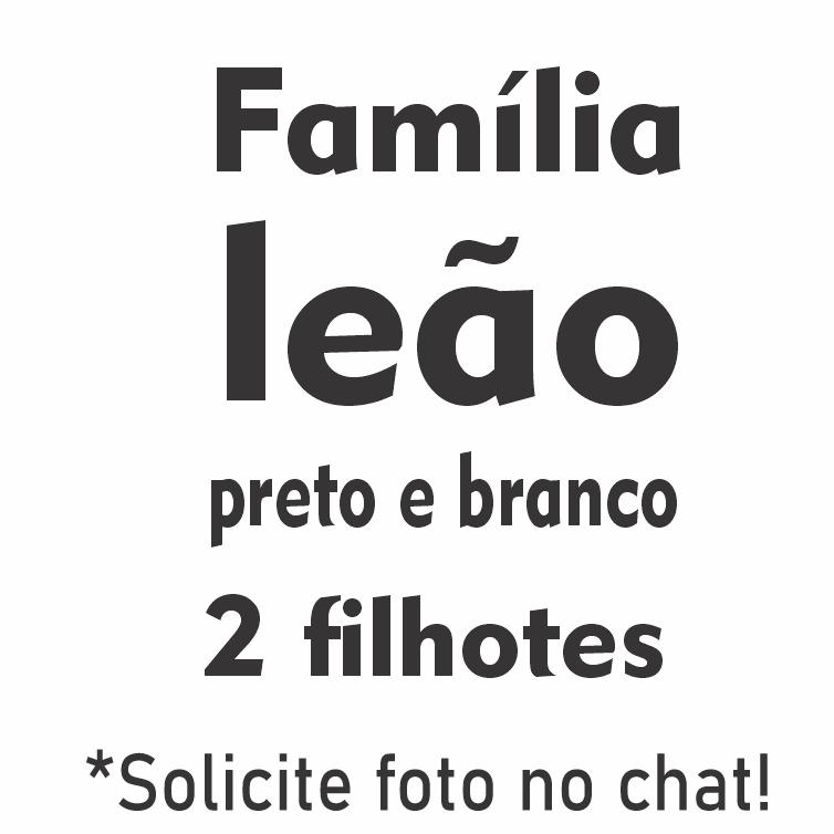 Família Leão Preto e Branco com 2 Filhotes - Tela Única