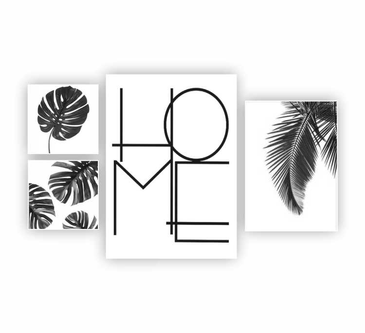 Kit Home Costela de Adão Preto e Branco Cute - 4 telas