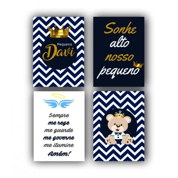 Kit Menino Príncipe Urso Coroa Azul Marinho - 4 telas