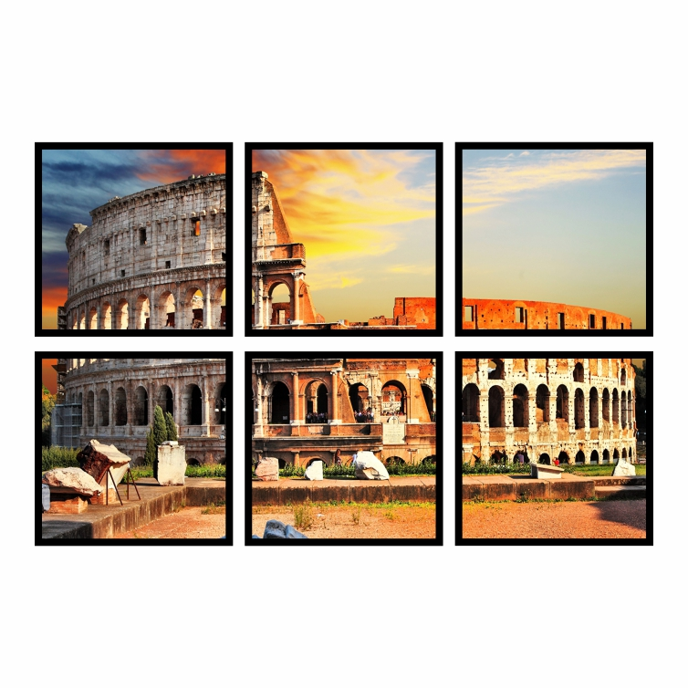 Kit Quadros Coliseu de Roma Luxo - Kit 6 telas