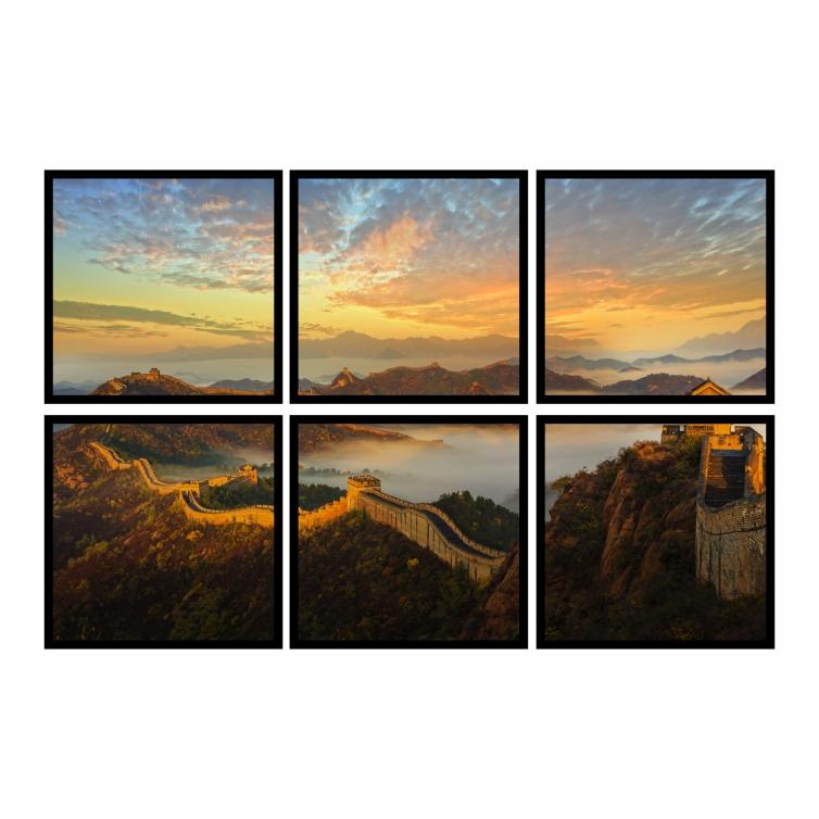 Kit Quadros Grande Muralha da China Premium - Kit 6 telas