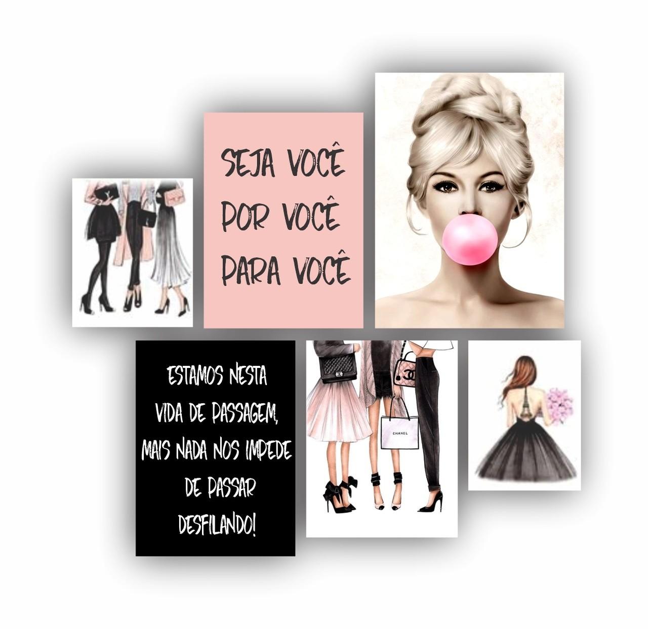 Kit Quadros Moda Feminino Moderno - 6 telas