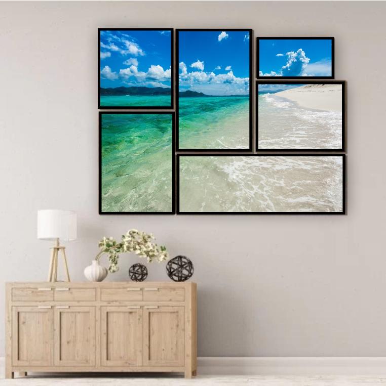 Kit Quadros Praia Luxo  - Kit 6 telas