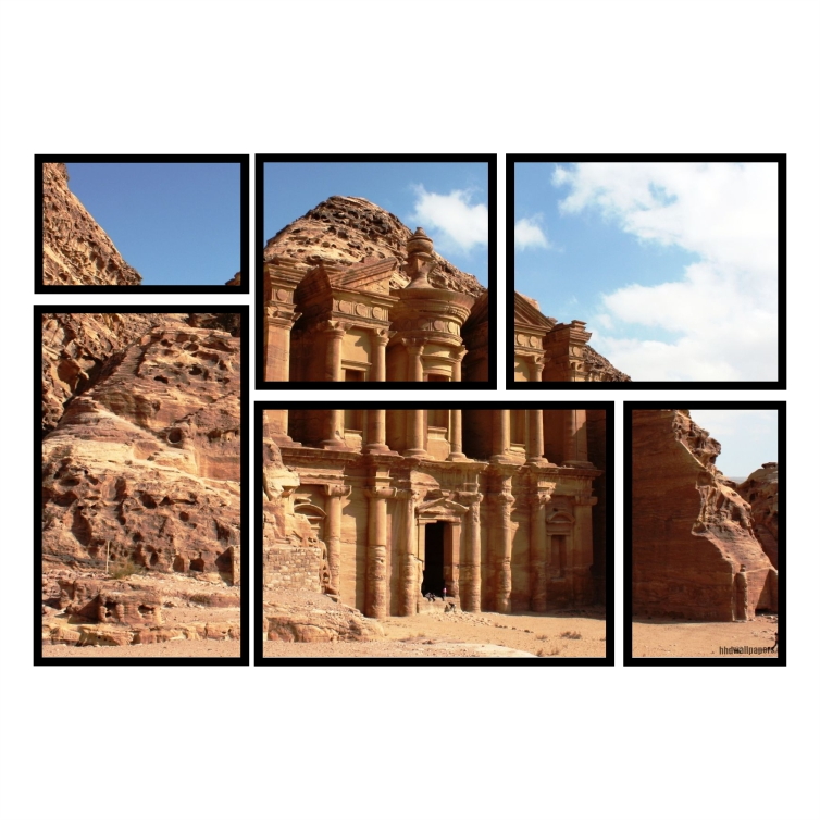Kit Quadros Ruínas de Petra Premium - Kit 6 telas