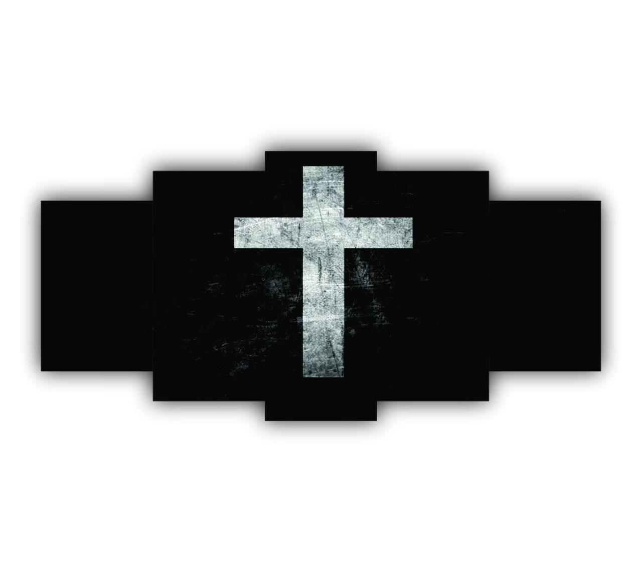 Mosaico Cruz Jesus Preto - 5 Telas