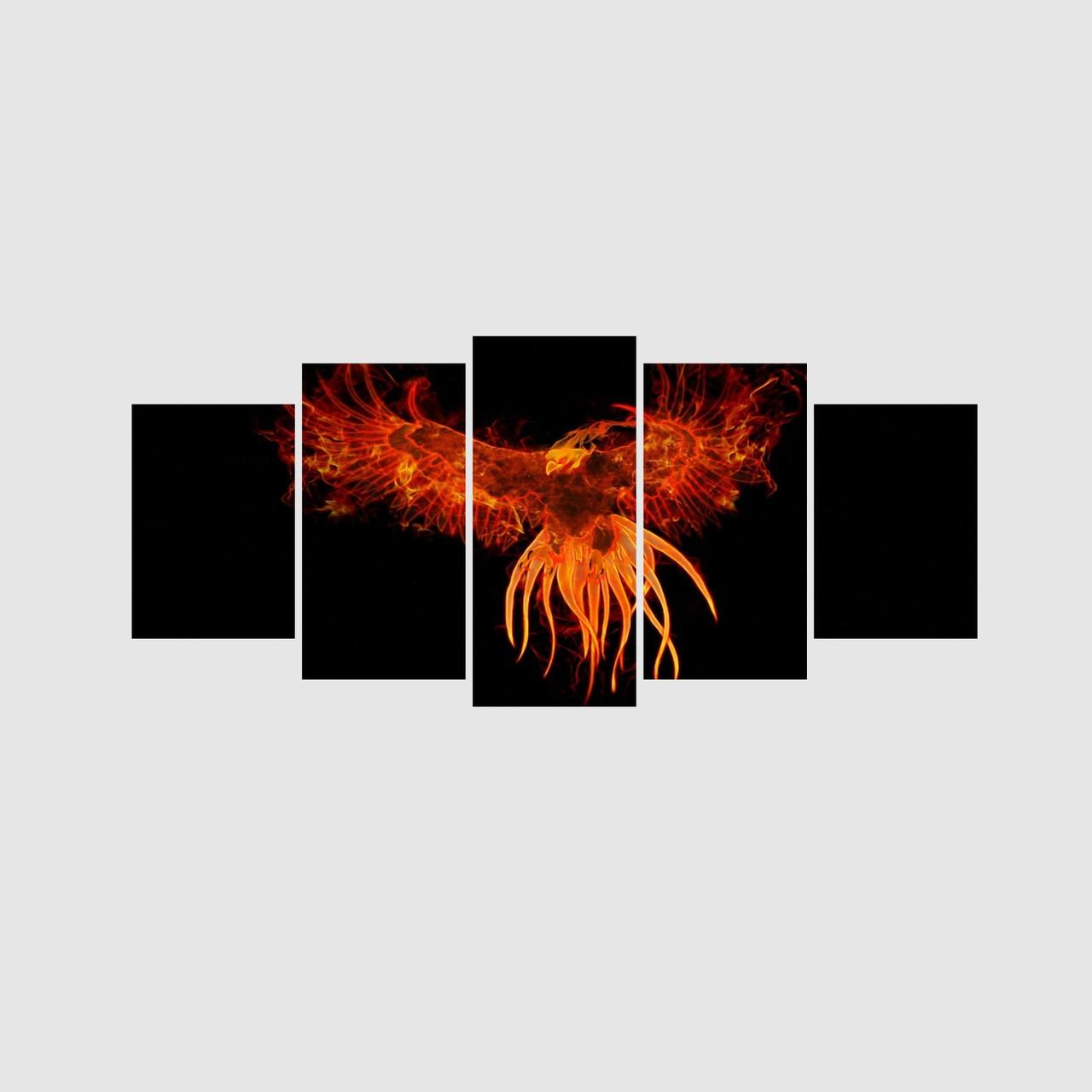 Mosaico Fênix Ressurgir das Cinzas Fogo - 5 Telas