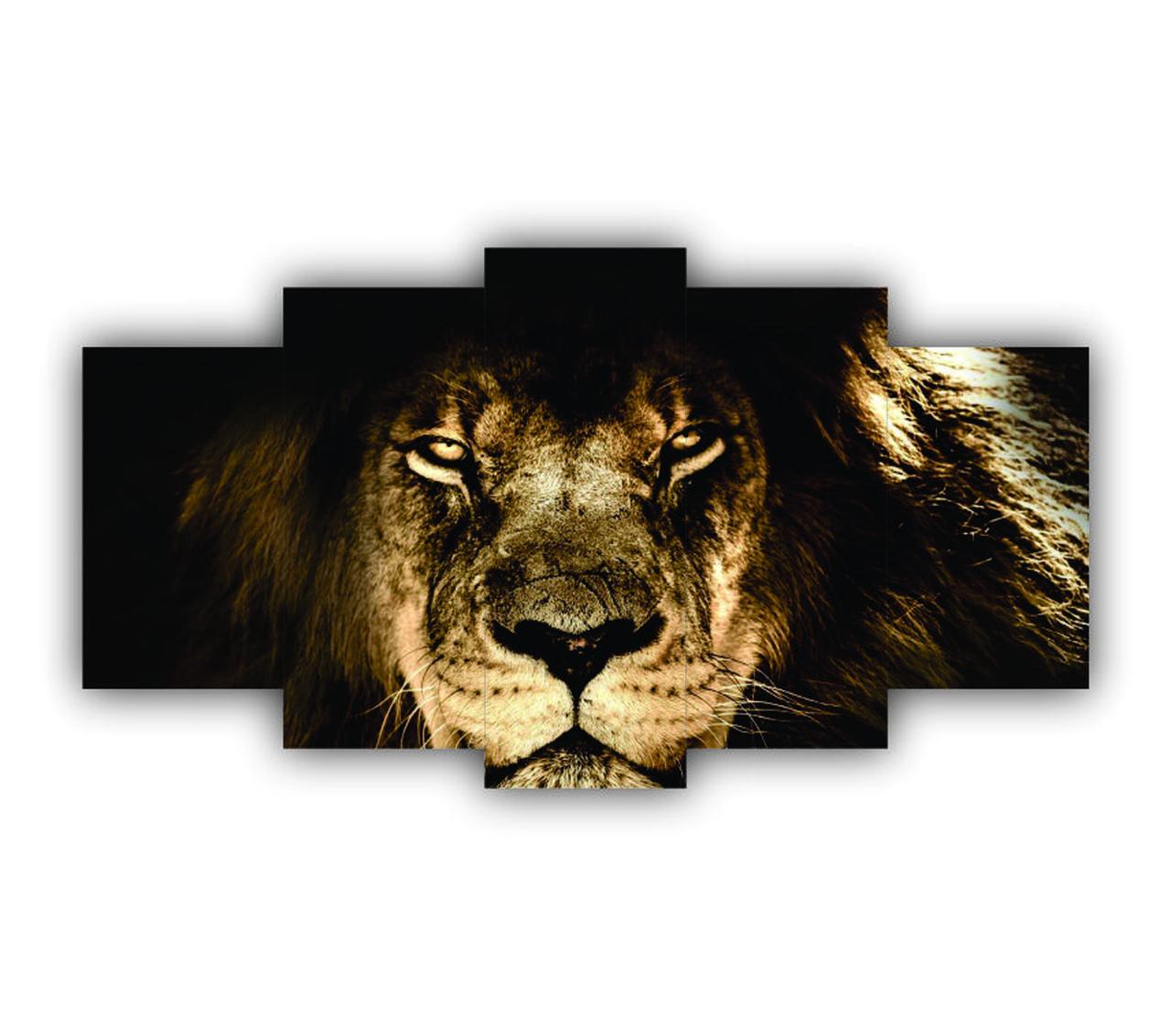 Mosaico Leão De Judá - 5 Telas