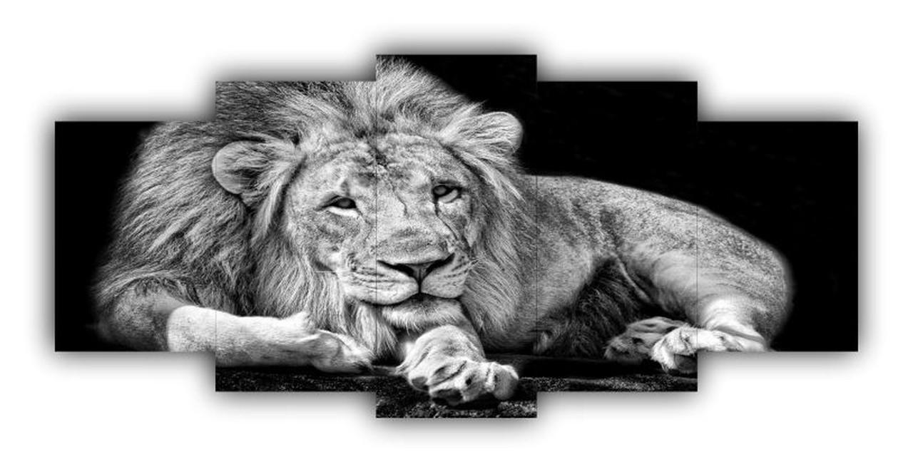 Mosaico Leão Preto e Branco Moderno - Kit 5 telas