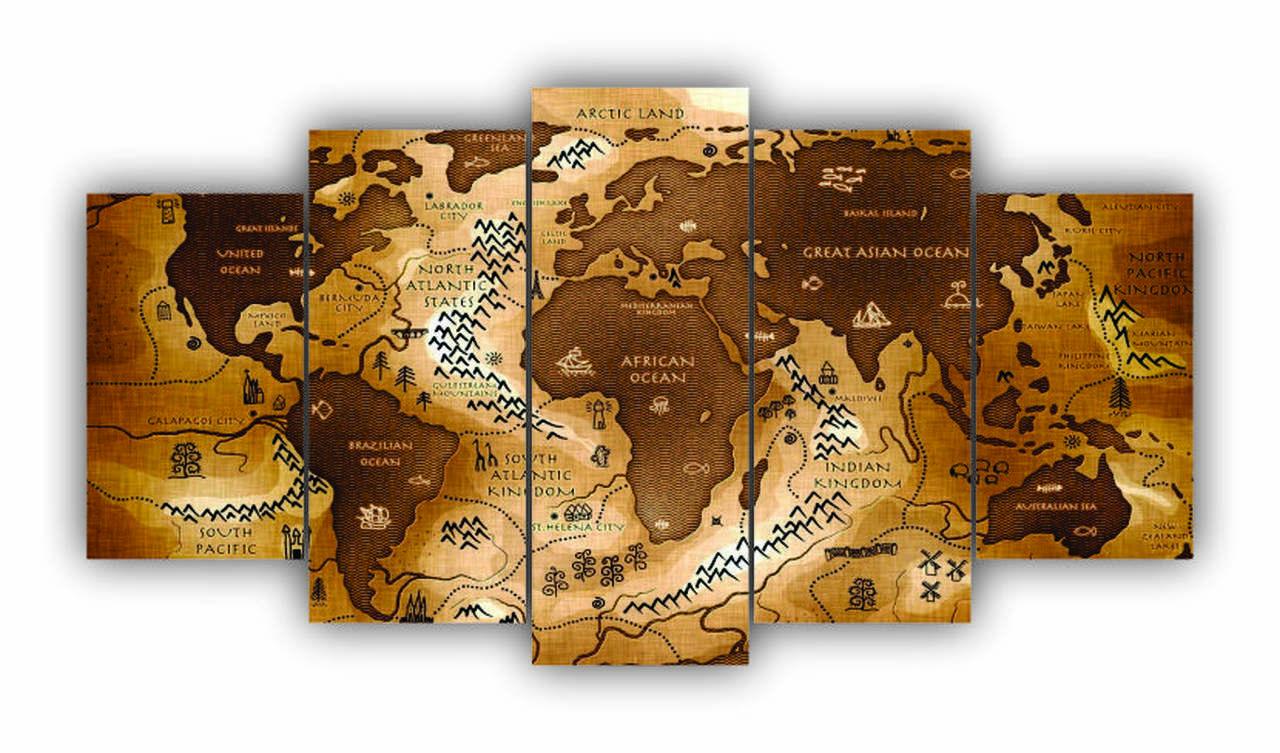 Mosaico Mapa Mundi Pergaminho Antigo Relíquia  - 5 Telas