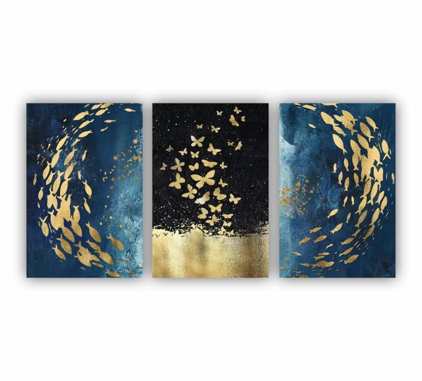 Quadro Abstrato Azul Borboleta e Peixe em Dourado  - Kit 3 telas