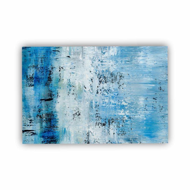 Quadro  Abstrato Azul e Branco Pinceladas Horizontal - Tela Única