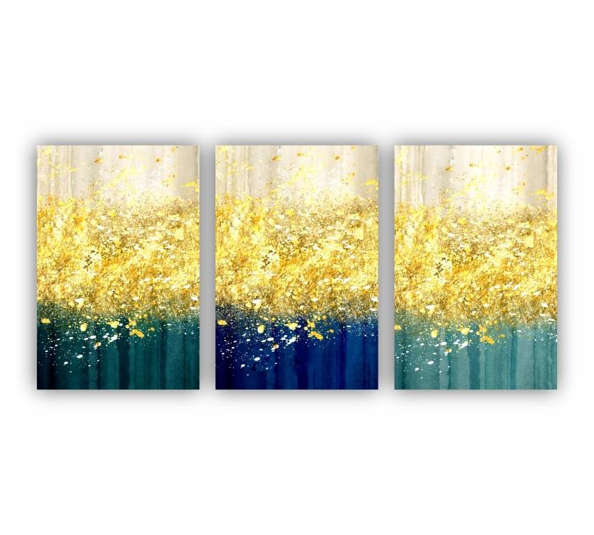 Quadro Abstrato Chuva de Ouro Tons azul - Kit 3 telas
