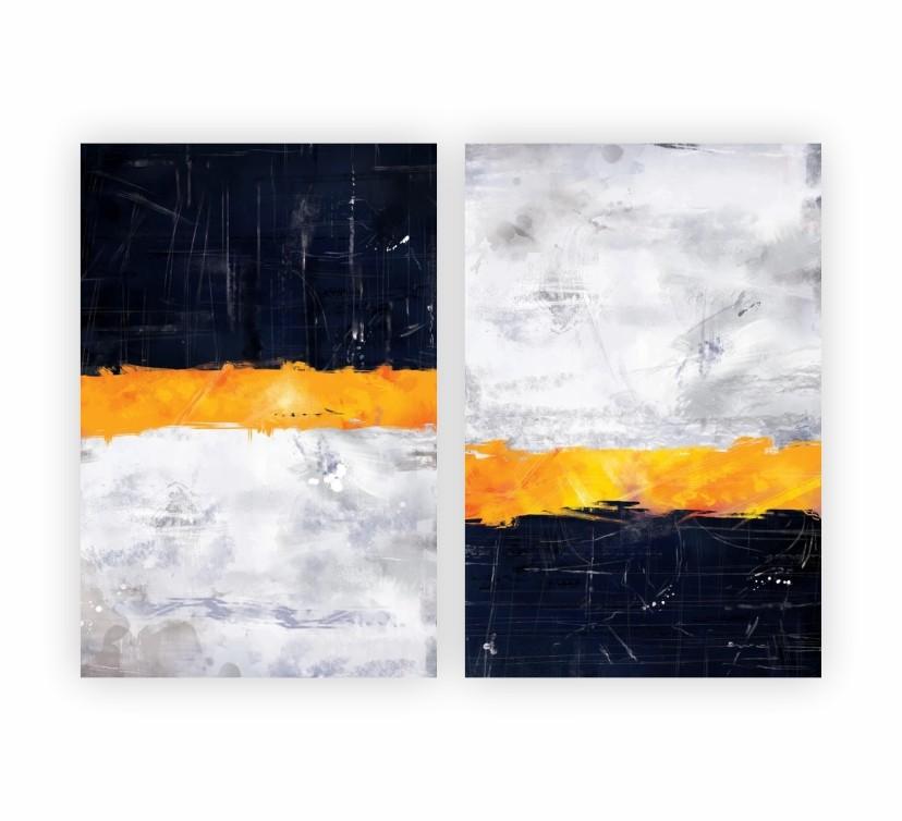 Quadro Abstrato Contemporâneo Preto Cinza e Dourado - Kit 2 telas